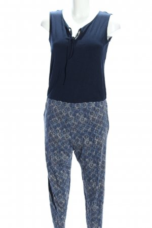 Tom Tailor Jumpsuit blau-creme abstraktes Muster Casual-Look