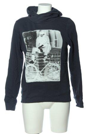 Tom Tailor Kapuzensweatshirt schwarz-weiß Motivdruck Casual-Look