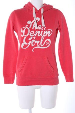 Tom Tailor Kapuzensweatshirt rot-weiß Schriftzug gedruckt Casual-Look