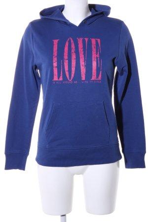 Tom Tailor Kapuzensweatshirt blau-pink Schriftzug gedruckt Casual-Look