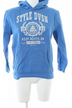 Tom Tailor Kapuzensweatshirt blau-wollweiß Schriftzug gedruckt Casual-Look