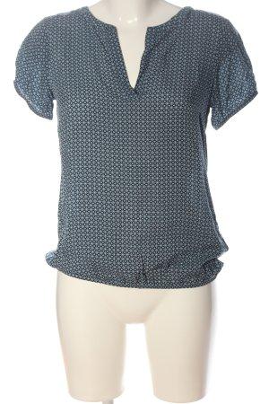 Tom Tailor Kurzarm-Bluse blau-weiß Allover-Druck Casual-Look