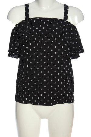 Tom Tailor Kurzarm-Bluse schwarz-weiß grafisches Muster Casual-Look