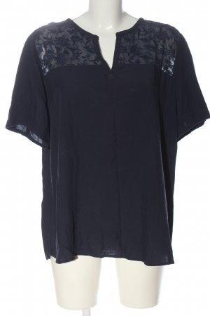 Tom Tailor Kurzarm-Bluse blau grafisches Muster Casual-Look