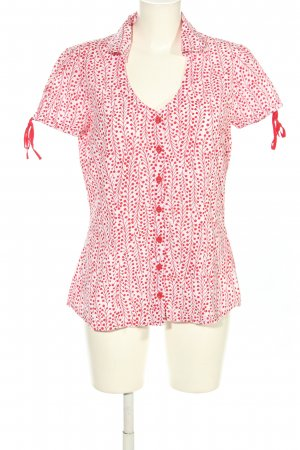 Tom Tailor Kurzarm-Bluse weiß-rot abstraktes Muster Casual-Look