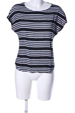 Tom Tailor Kurzarm-Bluse schwarz-weiß Streifenmuster Casual-Look