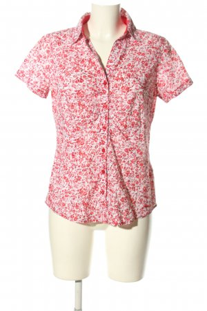 Tom Tailor Kurzarm-Bluse pink-weiß Allover-Druck Casual-Look