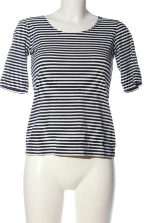 Tom Tailor Kurzarm-Bluse weiß-schwarz Streifenmuster Casual-Look