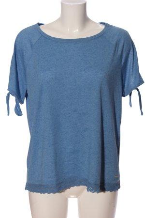 Tom Tailor Kurzarm-Bluse blau meliert Casual-Look
