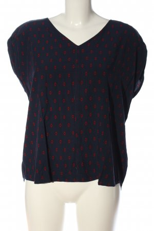 Tom Tailor Kurzarm-Bluse blau-rot Allover-Druck Casual-Look