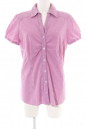 Tom Tailor Shirt met korte mouwen roze-wit geruite print casual uitstraling