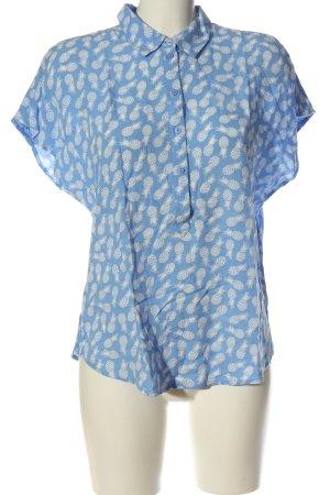 Tom Tailor Kurzarmhemd blau-weiß Allover-Druck Business-Look