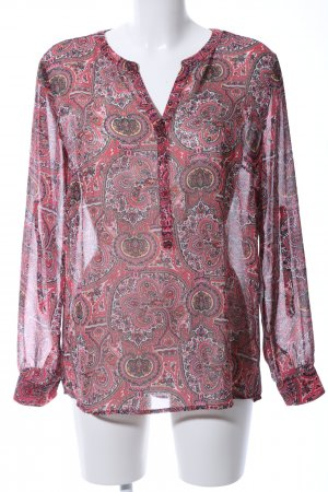 Tom Tailor Langarm-Bluse rot abstraktes Muster Casual-Look