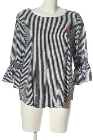 Tom Tailor Langarm-Bluse schwarz-weiß Allover-Druck Elegant