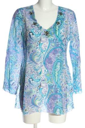 Tom Tailor Langarm-Bluse blau-lila abstraktes Muster Casual-Look