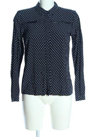 Tom Tailor Langarm-Bluse schwarz-weiß Allover-Druck Casual-Look