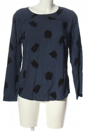 Tom Tailor Langarm-Bluse blau-schwarz grafisches Muster Casual-Look