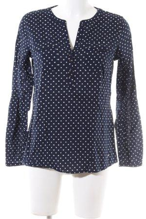 Tom Tailor Langarm-Bluse blau-weiß Punktemuster Casual-Look