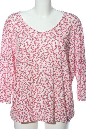 Tom Tailor Langarm-Bluse weiß-pink Allover-Druck