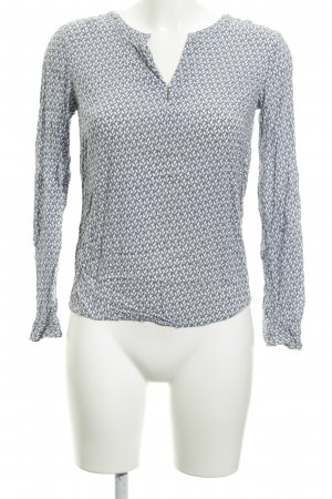 Tom Tailor Langarm-Bluse weiß-graublau Casual-Look