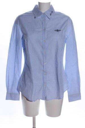 Tom Tailor Langarmhemd blau-weiß Schriftzug gestickt Casual-Look