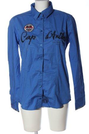 Tom Tailor Langarmhemd blau Schriftzug gedruckt Business-Look
