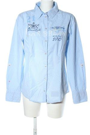 Tom Tailor Langarmhemd blau-weiß Schriftzug gedruckt Casual-Look