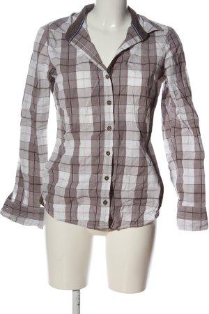 Tom Tailor Langarmhemd braun-weiß Allover-Druck Casual-Look