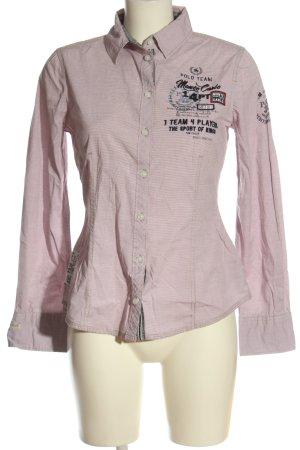 Tom Tailor Langarmhemd pink-schwarz Schriftzug gestickt Casual-Look