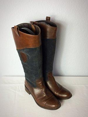 Tom Tailor Jackboots brown-dark blue leather