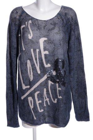Tom Tailor Pull long bleu-blanc cassé motif de camouflage style décontracté