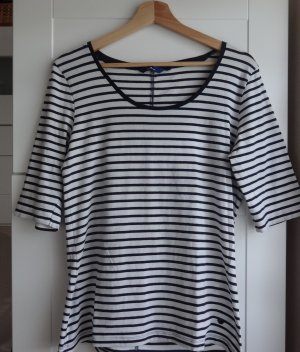 Tom Tailor Stripe Shirt dark blue-natural white cotton