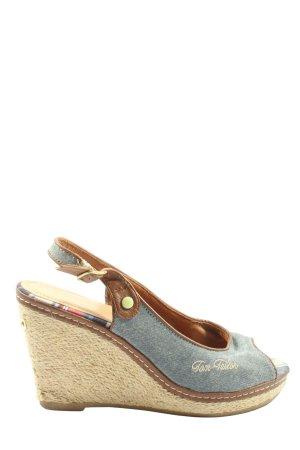 Tom Tailor Wedges Sandaletten blau Schriftzug gestickt Casual-Look