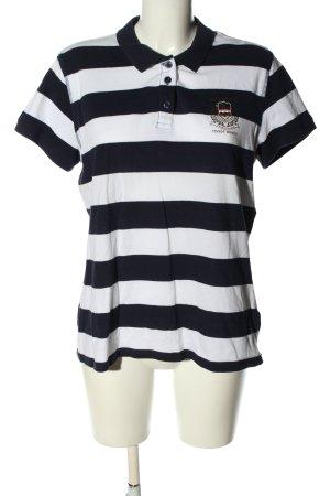 Tom Tailor Koszulka polo czarny-biały Wzór w paski Sportowy styl