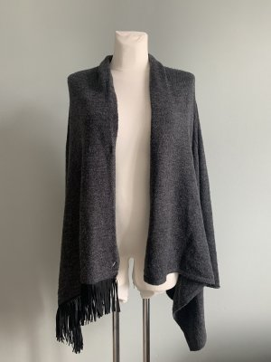 Tom Tailor Knitted Wrap Cardigan anthracite-dark grey alpaca wool