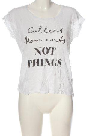 Tom Tailor Print-Shirt weiß-schwarz Schriftzug gedruckt Casual-Look