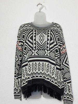Tom Tailor Pullover Inka Indian Größe L schwarz weiß gemustert