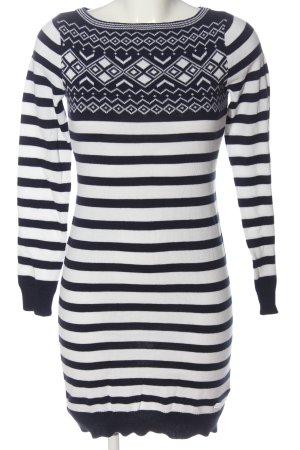 Tom Tailor Pulloverkleid weiß-schwarz grafisches Muster Casual-Look