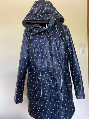 Tom Tailor Płaszcz przeciwdeszczowy ciemnoniebieski-biały