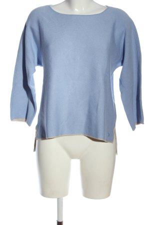 Tom Tailor Rundhalspullover blau Webmuster Casual-Look