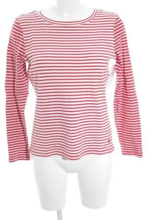 Tom Tailor Rundhalspullover rot-weiß Streifenmuster Brit-Look