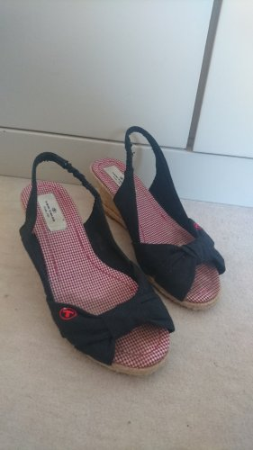 Tom Tailor Sandaletten schwarz/rot-weiß kariert Gr. 37