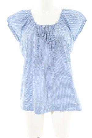 Tom Tailor Schlupf-Bluse blau-weiß Karomuster Casual-Look