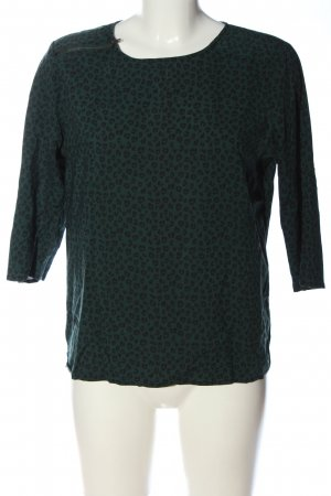 Tom Tailor Schlupf-Bluse grün-schwarz Allover-Druck Casual-Look