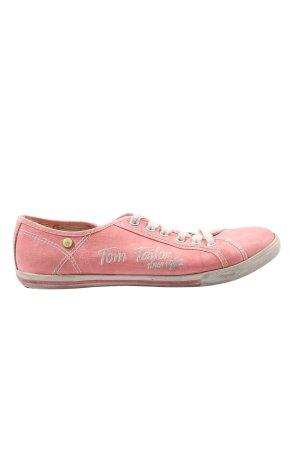 Tom Tailor Schnürsneaker pink-weiß Schriftzug gedruckt Casual-Look