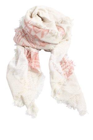 Tom Tailor Schoudersjaal wit-roze grafisch patroon casual uitstraling