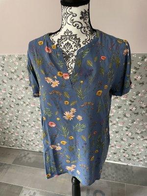 Tom Tailor Shirt Bluse blau Blumen Gr. 38