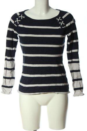 Tom Tailor Strickpullover schwarz-weiß Streifenmuster Casual-Look