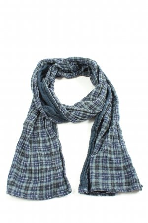 Tom Tailor Knitted Scarf blue check pattern casual look
