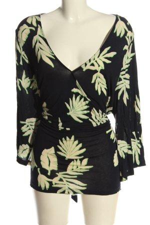Tom Tailor Wraparound Shirt black-cream themed print casual look